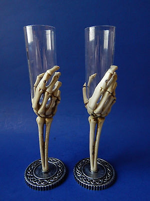 HALLOWEEN Skeleton Plastic Champagne Flute Drink Glass Easter Unlimited Pair