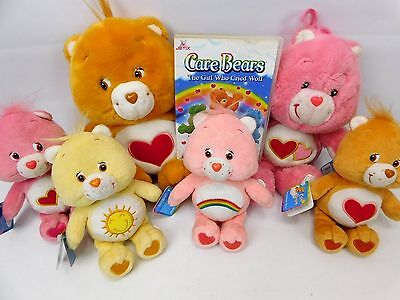 Care Bears Soft Toy Bundle 2002 Tenderheart Love-A-Lot Cheer Funshine And DVD