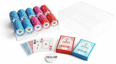 200 Crown Millions Poker Chips Acrylic Set Case 100% Plastic Playing Cards New