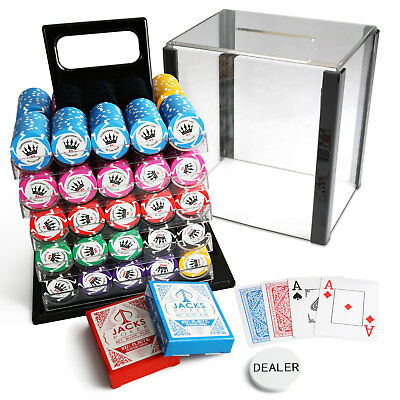 1000 Crown Millions Poker Chips Acrylic Set Case 100% Plastic Playing Cards New
