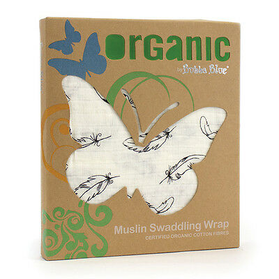NEW Bubba Blue Feathers Organic Muslin Wrap Double Layer