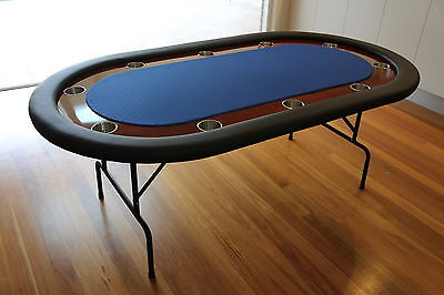 "The Ivey 82"" Professional 10 Seater Blue Suited Speed Cloth Poker Table Premium"