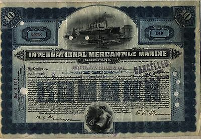 International Mercantile Marine Company Stock Certificate Blue