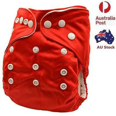 New Reusable Modern Baby Cloth Nappies Diapers Adjustable Solid Red MCN (P9)