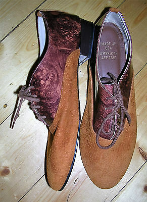 80's brown suede patent leather lace-up shoes by America Apparel (m/in USA) /8.5