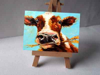 Aceo,Abstract Cutie Cow Chewing Face, Art Print From Original Watercolor