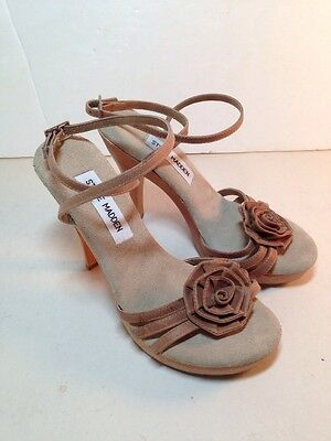 71948ca849bd3 STEVE MADDEN STRAPPY Sandals Size 6.5 Beige Leather Wooden Heels Shoes 6 1/2
