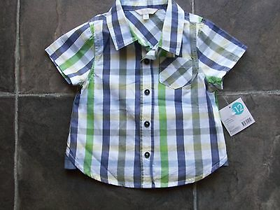 BNWT Baby Boy's Blue, Green, Yellow & White Checked Short Sleeve Shirt Size 00
