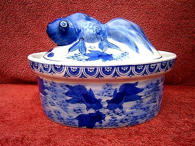 Vintage  Hand  Painted  Koi-Fish  Tureen