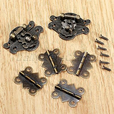 2 x Box Latch Hasps Fashion Decorative Cabinet+4 x Butterfly Hinges+28 Screws