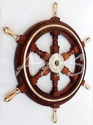 Decorative Boat Ships Captains Nautical Brass Ship Wheel Wooden Steering Wheel