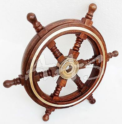 Vintage Nautical Wood Brass Boat Steering Pirate Captains Ship Wheel Maritime