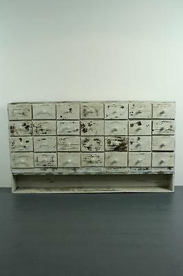 Vintage Industrial French Painted Chest Haberdashery Apothecary Drawers #1832