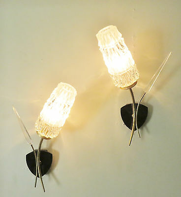 LOVELY PAIR 1960's FRENCH WALL LIGHTS SCONCES GLASS SHADES SIXTIES DESIGN