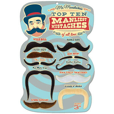 Halloween Mr. Moustachio's Top 10 Pcs Manliest of All Time Assortment Party fun