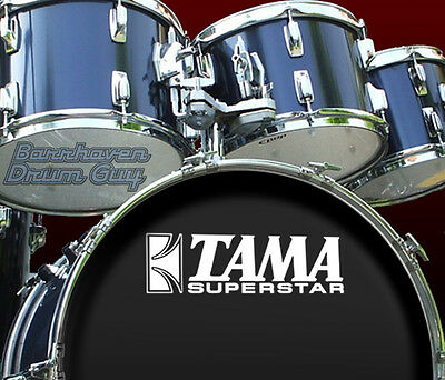Tama Superstar, 70s Vintage, Repro Logo - 'White' Vinyl Decal, for Bass Drum