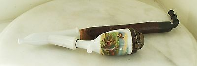 Vintage German Porcelain Smoking Pipe with Foxes in a landscape Design.