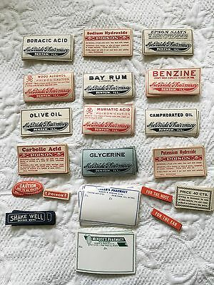 Vintage Medicine Label Ephemera L/300 Drugs Poison Apothecary Jar Antique Bottle