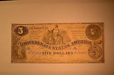 September 2, 1861 $5 Confederate Note- T-36- Fine with tape repair.