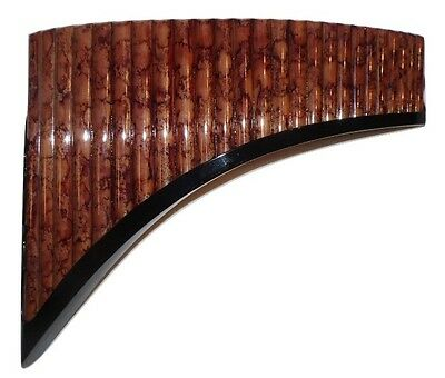 Professional Panflute 25 Pipes Brown & Wine Designs Painted Bamboo Item In Usa