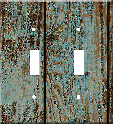 Rustic Wood Designs Metal Switch Light Double Cover plate