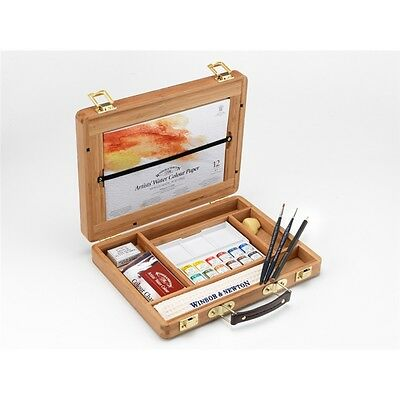 Winsor & Newton Artists Professional Water Colour Bamboo Wood Box - Half Pan
