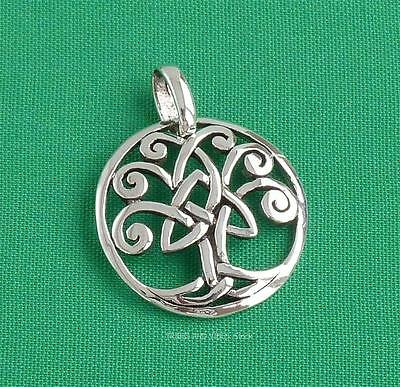 Celtic Tree round Pendant Triquetra 925 Sterling Silver Trinity Knots Sea Gems