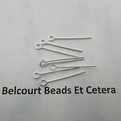 25.4mm - 100 Open Eye Pins - Silver Color 1 Inch - 22GA Easy to Use!