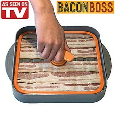 Bacon Boss Microwave Drip Pan  As Seen On TV Heavy Duty Tempered Glass Cooker