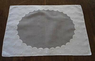 Vintage Organdy Madeira Linen Placemats Embroidered Dots Set of 4