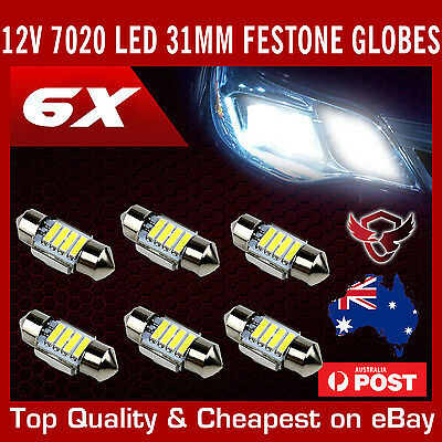 6X 12V 31Mm Festoon 7020 4 Led Car Ute 4Wd Interior Dome Map Light Bulb Globe