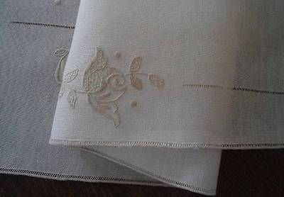 Antique Linen Table Runner Honeycomb Lace Embroidered Seed Stitch Rose