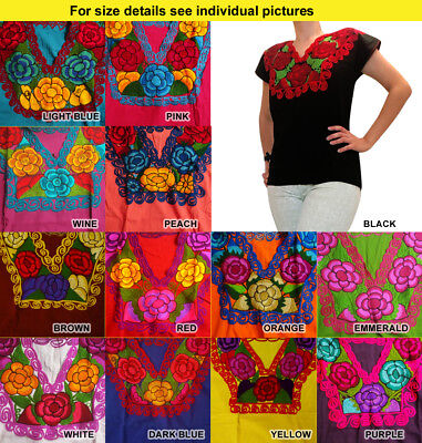 Authentic embroidered ethnic blouse from Chiapas Mexico Zinacantan