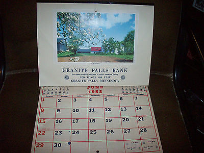 1958 Advertising Calendar Granite Falls Bank Minnesota Nice Condition