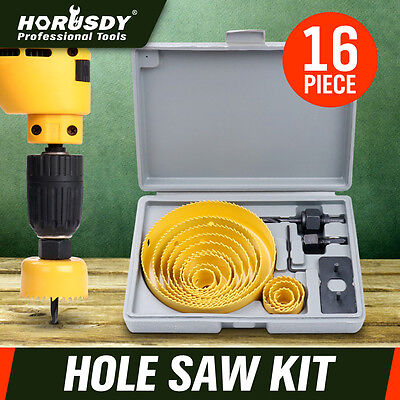 16 Pc Holesaw Kit Circle Wood Cutter Round Plaster Hole saw Drill Bits 19-127mm