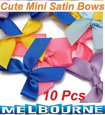 10 Pcs Cute Mini Silk Satin Ribbon Bow Appliques Scrapbook Craft DIY Decoration