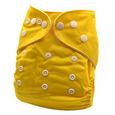 New Reusable Solid/Plain Yellow Color Modern Cloth Nappy (MCN) FREE insert (P2)