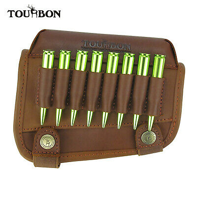 Tourbon Real Leather Rifle Cartridge Holder Buttstock Cheek Rest Pad Gun Vintage