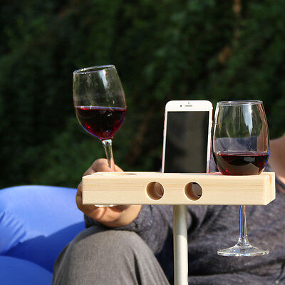 Handmade Wooden Outdoor Camping Wine Glass Holder Phone Dock Speaker Men's Gift