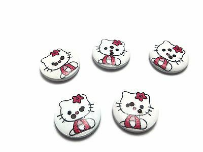 20x22mm 100 HELLO KITTY CAT SEWING CRAFT JEWELLERY WOODEN CHILDRENS BUTTONS