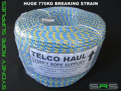 Telstra Rope 400Mtrs X 6Mm Excellent Value, Huge 770Kg Breaking Strain