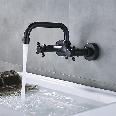 Bathroom Basin Tub Faucet Wall Mount Dual Cross Knobs Rotate Spout Mixing Tap