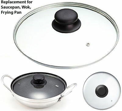 Replacement Round Tempered Glass Vented Spare Lid Pan , Saucepans, Wok, From 14c