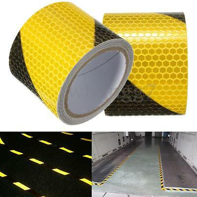 Yellow Black Night Safety Reflective Warning Conspicuity Tape Film Sticker New