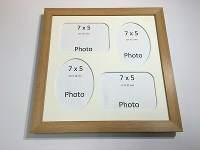 Multi App Photo Frame Oak-Holds 4 x 7''X5'' Choose from 4 mount colours