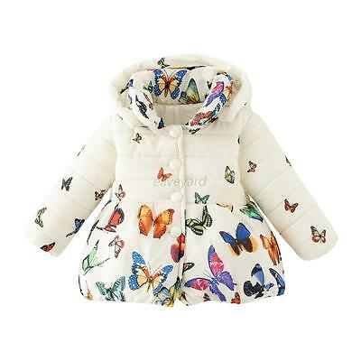 Toddler Girls Butterfly Hooded Coat Jacket Winter Warm Cotton Thick Outerwear