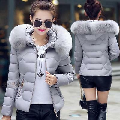 Women's Fur Collar Hooded Down Cotton Jacket Winter Warm Slim Short Coat Parka