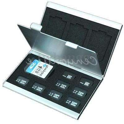 Aluminum Micro MMC SD TF Memory Card Storage Box 8xSIM 4xSD Protecter Case hold