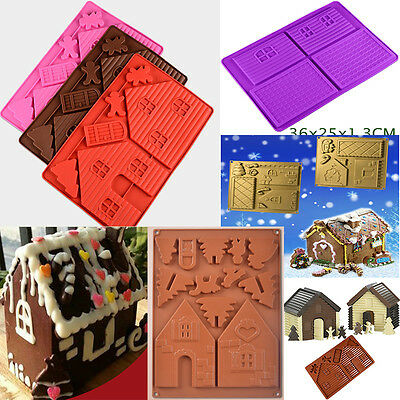 3D Christmas House Silicone Fondant Cookies Mould Cake Chocolate Baking Mold DIY