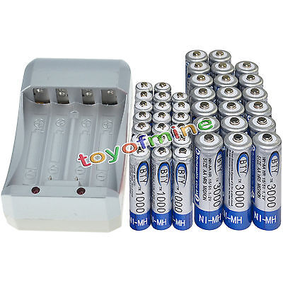 20x AA 3000mAh+20x AAA 1000mAh 1.2V NI-MH BTY Color Rechargeable Battery+Charger